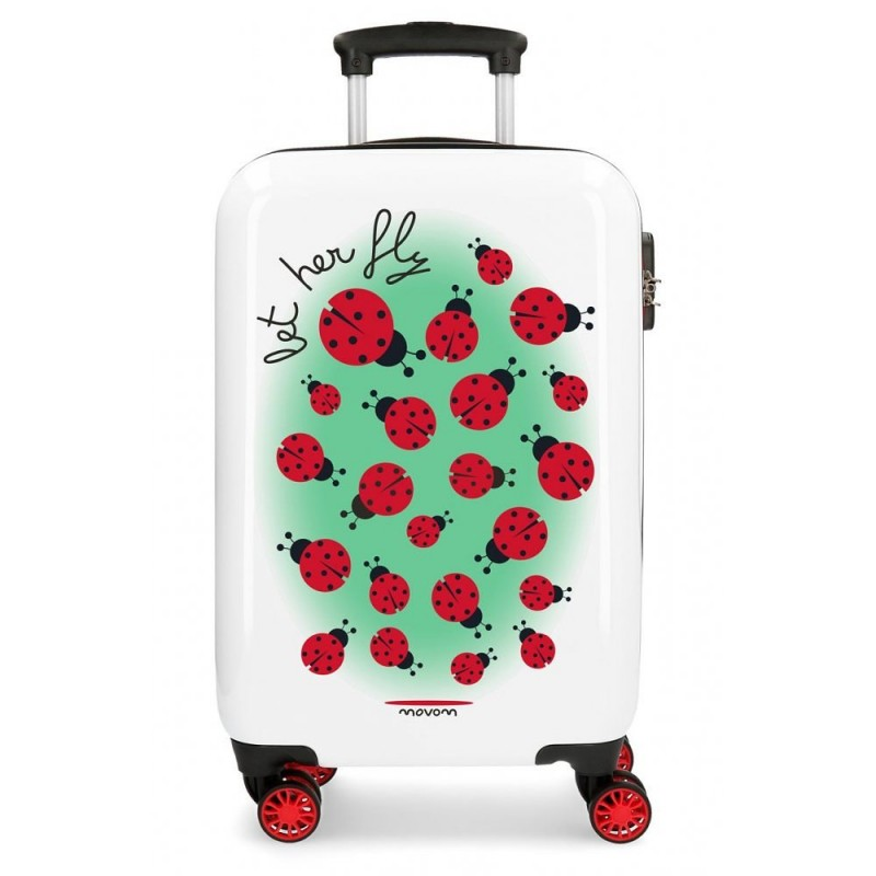 """Valise cabine 4 roues MOVOM """"Let Her Fly """" - Coccinelles"""