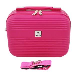 Vanity-case rigide en ABS Fushia avec bandoulière.