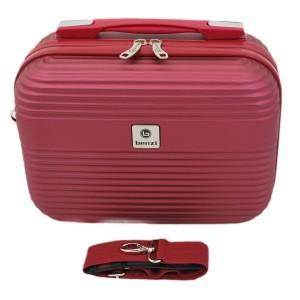 Vanity-case rigide en ABS Bordeaux avec bandoulière.