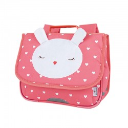 "Cartable OBERTHUR 32 cm ""peluche"" rose - face"