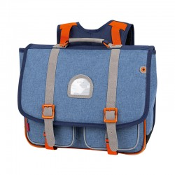 Cartable KICKERS 38 cm garçon chiné bleu/orange - face