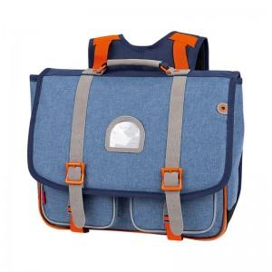 Cartable KICKERS 38 cm garçon chiné bleu/orange - face