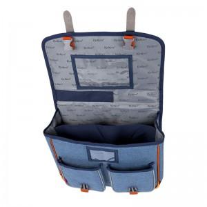 Cartable KICKERS 38 cm garçon chiné bleu/orange - intérieur