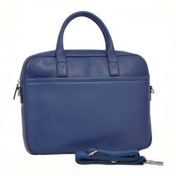 Cartable porte-documents et ordinateur femme en cuir KATANA - bleu vif