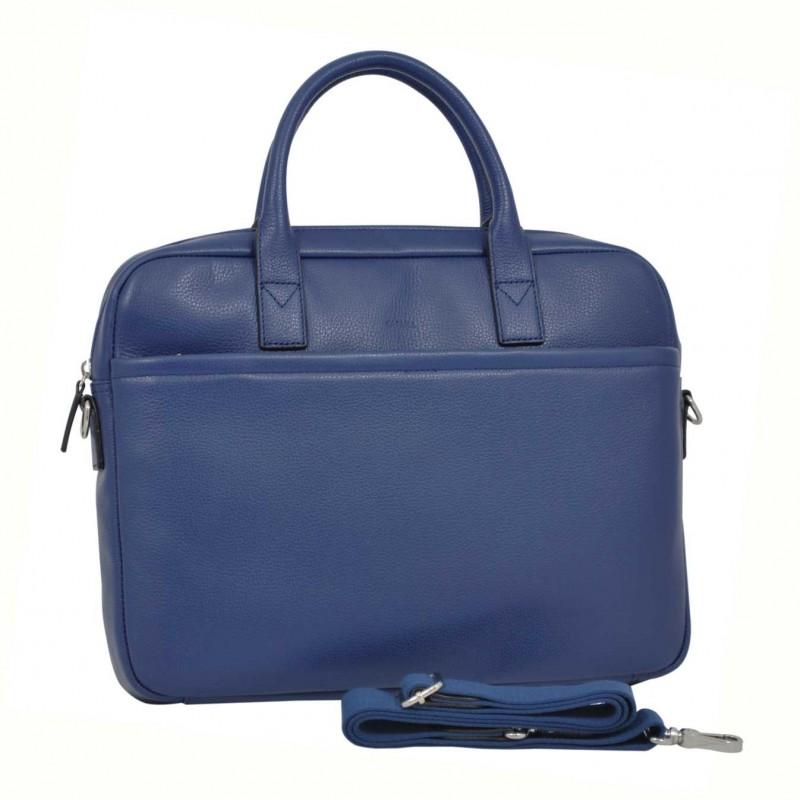 Cartable porte-documents et ordinateur femme en cuir KATANA - bleu vif