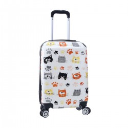 """Valise cabine 4 roues MADISSON """"Cats"""" - blanc"""