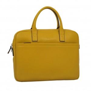 Cartable porte-documents et ordinateur femme en cuir KATANA - jaune