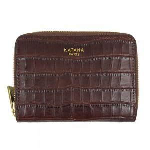 Portefeuille femme en cuir embossé croco KATANA - marron