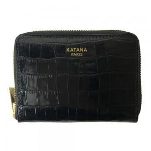 Portefeuille femme en cuir embossé croco KATANA - noir