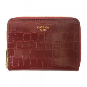 Portefeuille femme en cuir embossé croco KATANA - rouge