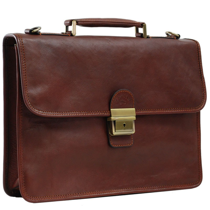 Cartable Cuir 1 soufflet KATANA - Marron