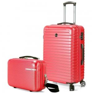 "Valise cabine + vanity BENZI ""Stripes"" - rouge"