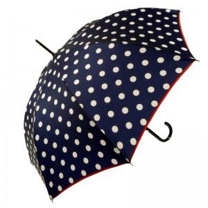 """Parapluie long made in France LE PARAPLUIE FRANÇAIS """"Pois"""" marine"""