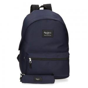 "Sac à dos ado style eastpak + trousse offerte marque PEPE JEANS LONDON ""Aris Evergreen"" bleu marine"