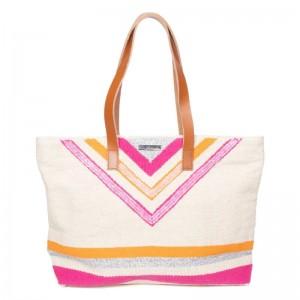 """Sac shopping femme cabas LES TROPEZIENNES """"Cassis"""" coton rose orange beige"""