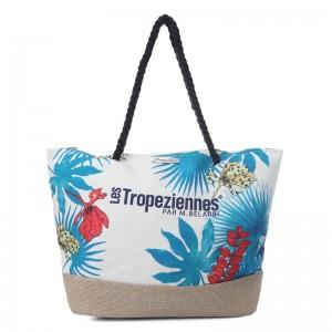 """Sac de plage femme style panier LES TROPEZIENNES PAR M.BELARBI """"Flower"""" imprimé multicolore"""