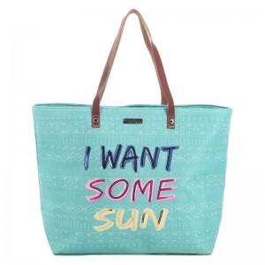 """Sac shopping femme LES TROPEZIENNES """"Concarneau"""" turquoise sac de plage"""