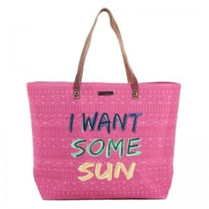 """Sac shopping femme LES TROPEZIENNES """"Concarneau"""" rose sac de plage"""