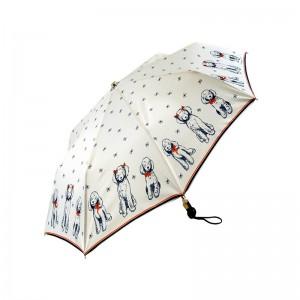 """Parapluie pliant LE PARAPLUIE FRANÇAIS """"Chien fripon"""" blanc made in France"""