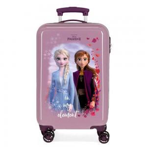 """Valise cabine fille LA REINE DES NEIGES """"In my element"""" violet Disney Princesse"""