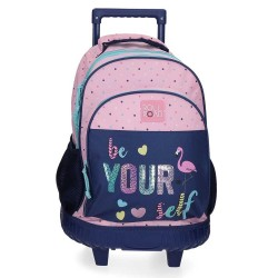 """Sac à dos à roulettes fille ROLL ROAD """"Be yourself"""" trolley scolaire école"""