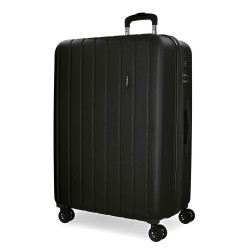 "Valise extensible 75cm MOVOM ""Wood"" noir - Bagage grande taille 2 semaines pas cher"