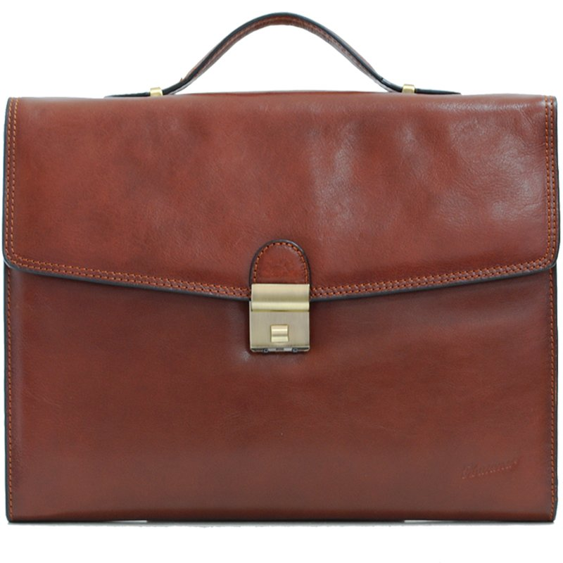 Cartable en cuir 2 soufflets KATANA - Marron