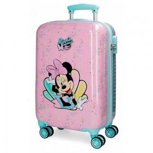 "Valise cabine fille Disney MINNIE ""Mermaid"" - rose clair"