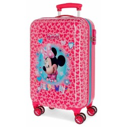 """Valise cabine fille Disney MINNIE """"Help on the day"""" - coeurs rose"""