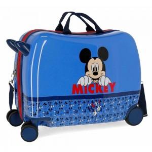 "Valise enfant trotteur Disney MICKEY ""Moods"" - bleu"