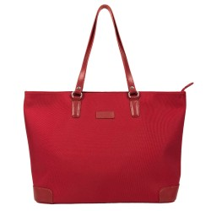 Sac femme type cabas nylon et cuir KATANA rouge