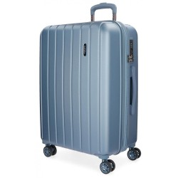 """Valise extensible 75cm MOVOM """"Wood"""" bleu - Bagage grande taille 2 semaines pas cher"""