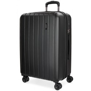 "Valise extensible 65cm MOVOM ""Wood"" noir | Bagage taille moyenne séjour 1 semaine pas cher"