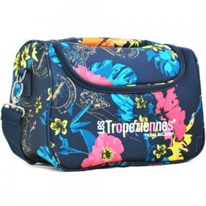 """Vanity case souple LES TROPEZIENNES """"Valoris"""" bleu motif tropical"""
