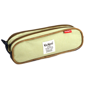 Trousse plate double Kickers 24 * 7,5 * 8,6 cm bleu/beige