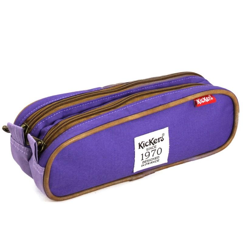 Trousse plate double Kickers 24 * 7,5 * 8,6 cm mauve/violet