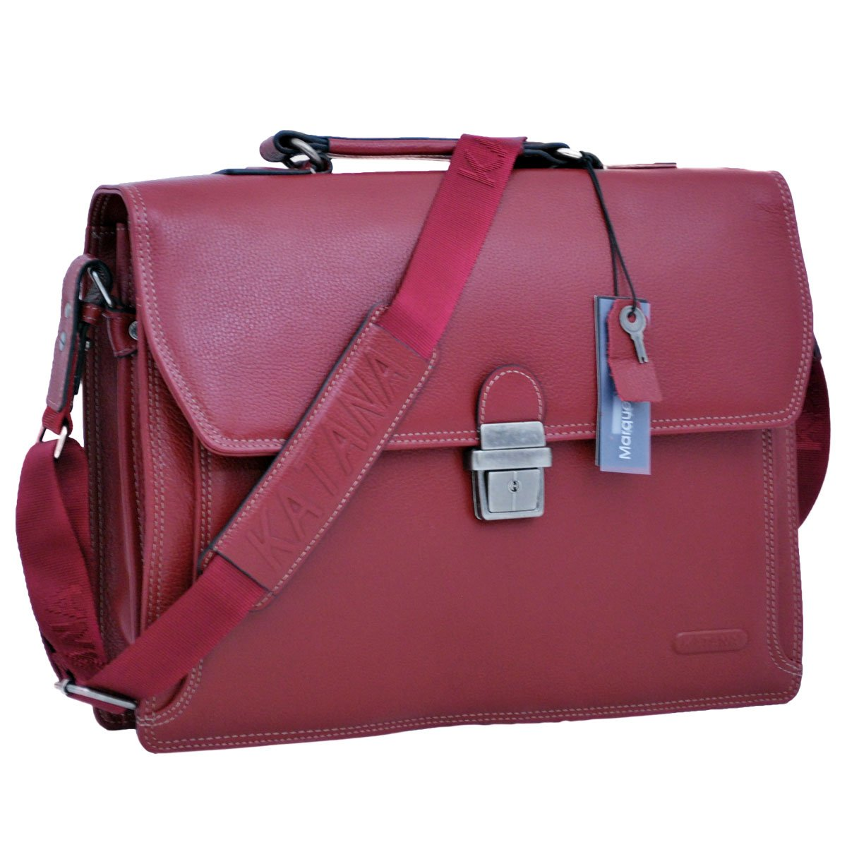 Cartable adulte en cuir grainé Rouge 2 soufflets