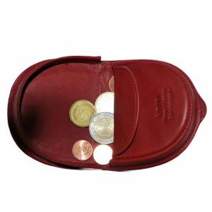 Katana -Porte-monnaie cuvette en cuir de vachette lisse - Rouge