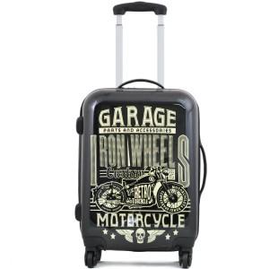 "Valise cabine imprimée BENZI ""Garage Motorcycle"" - noir"