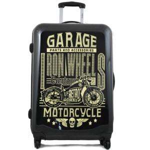 Valise 70 cm 4 roues de la marque BENZI imprimé motif Motorcycle.
