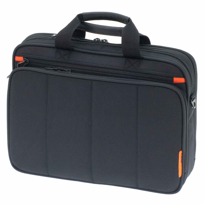 Un sac ordinateur muni de deux compartiments à tirettes et d'une poche frontale.