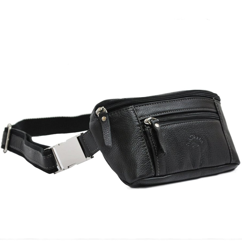 Sac ceinture en cuir de vachette Katana - Noir