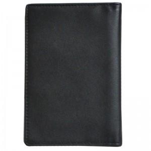 Porte-passeport en cuir de vachette lisse - Noir