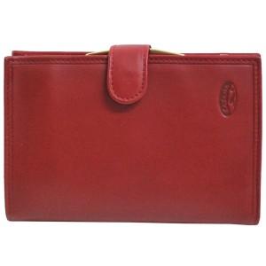 Portefeuille femme à fermoir en cuir de vachette lisse - Rouge