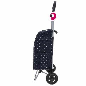 """Chariot de marché avec poche isotherme TRIOKY """"Flow"""" - Noir imprimé gouttes."""