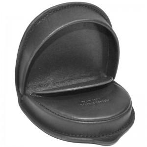Porte-monnaie cuvette en cuir de vachette lisse - Noir