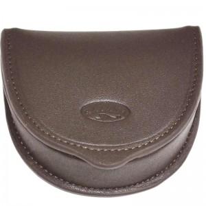 Porte-monnaie cuvette en cuir de vachette lisse - Marron