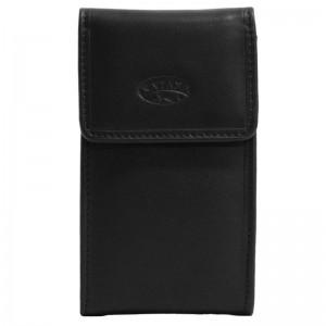 Porte-clé en cuir de vachette lisse - Noir