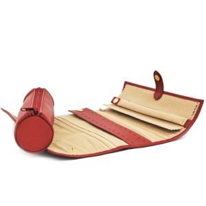 Porte-bijoux rouleau cuir Nappa - Rouge