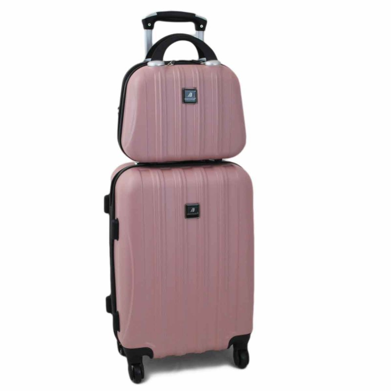Valise cabine 4 roues + vanity Madisson - Rose Gold